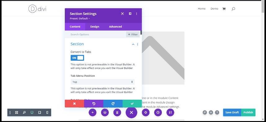 convert divi section into tab